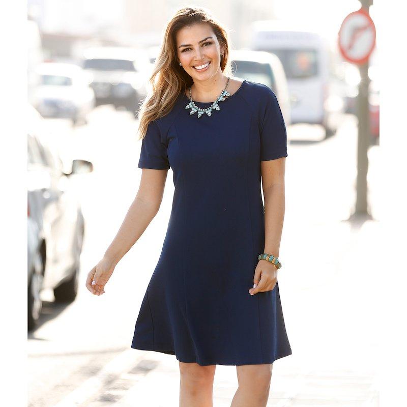 Vestido mujer manga corta evasé punto elástico - Azul