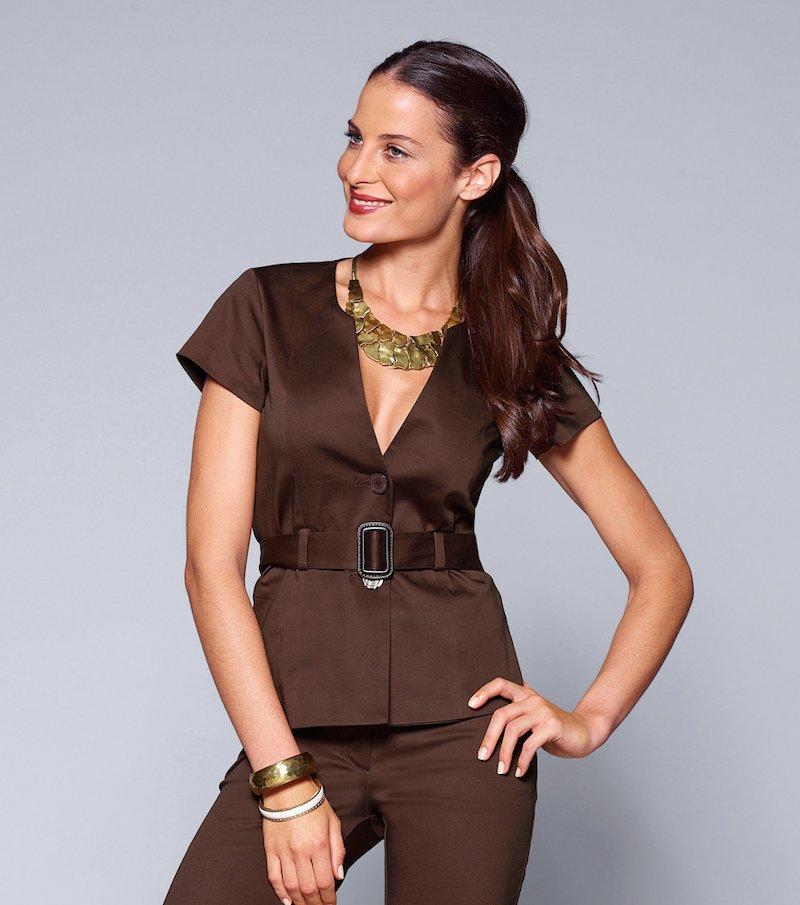 Americana mujer manga corta con cinturón - Marrón