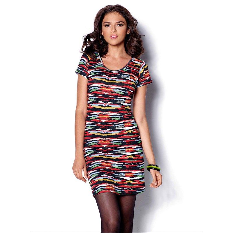 Vestido manga corta punto estampado multicolor