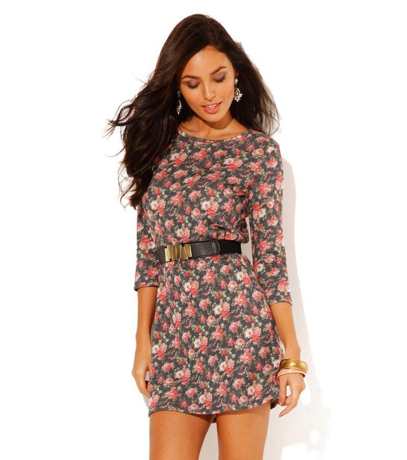 Vestido mujer manga 3/4 estampado flores