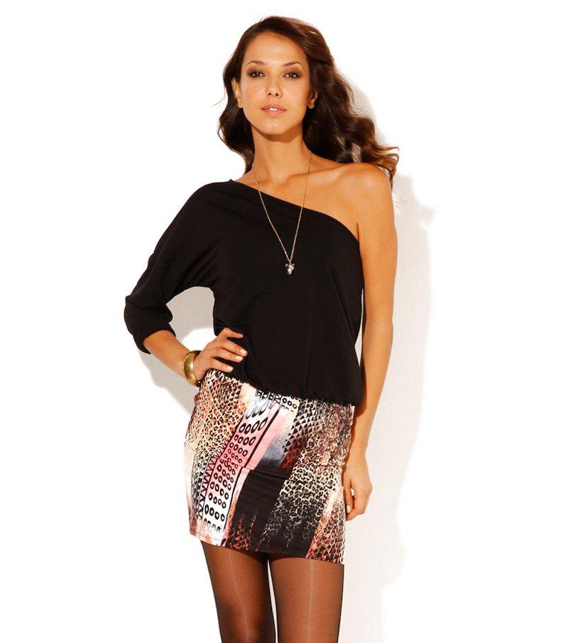 Vestido mujer escote asimétrico punto elástico