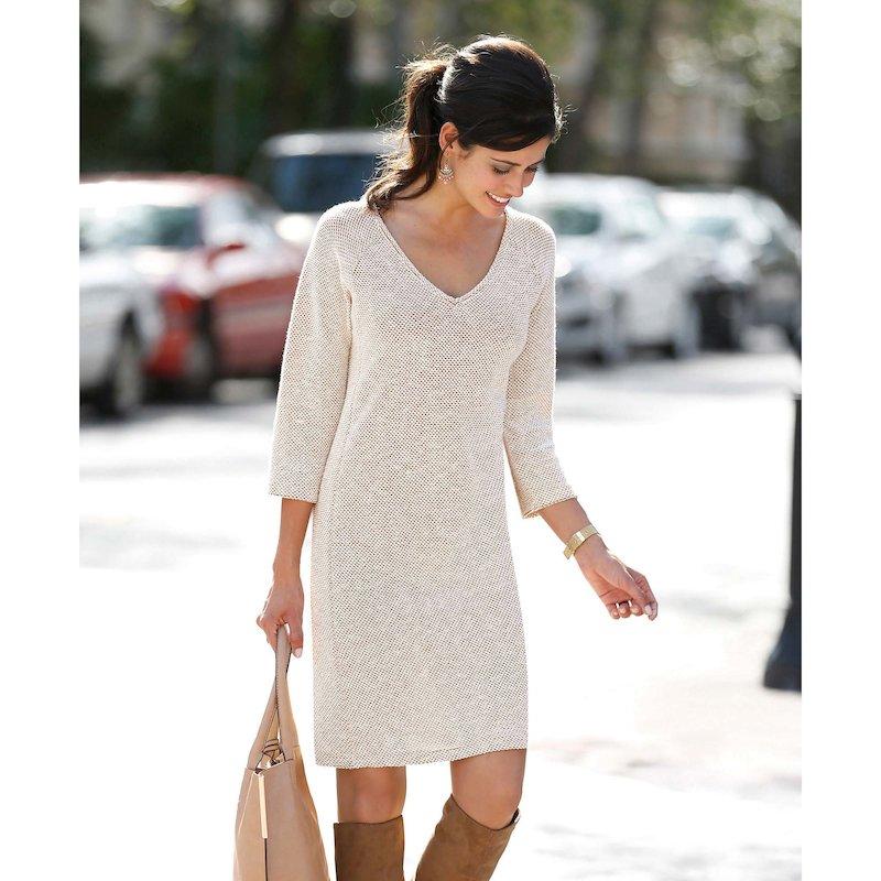Vestido mujer algodón felpa escote V y manga 3/4