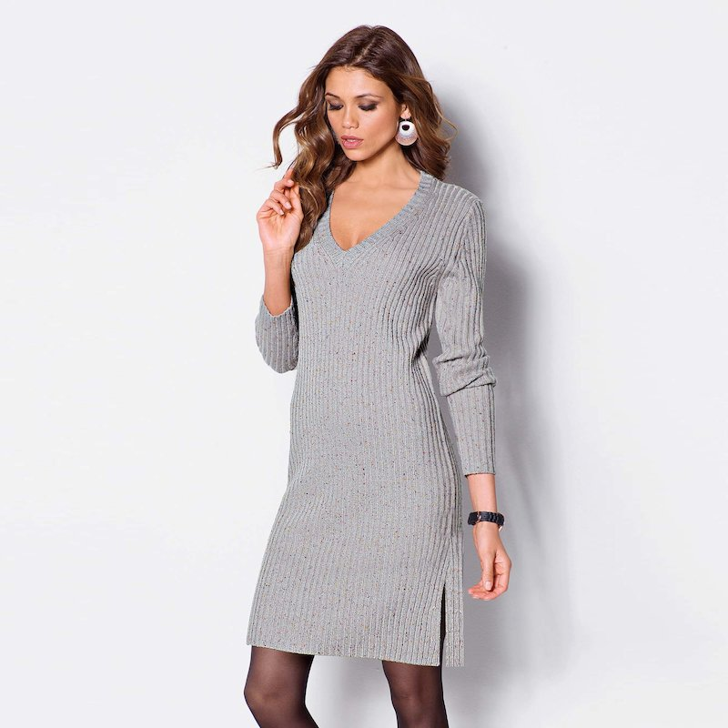 Vestido mujer manga larga en suave punto tricot