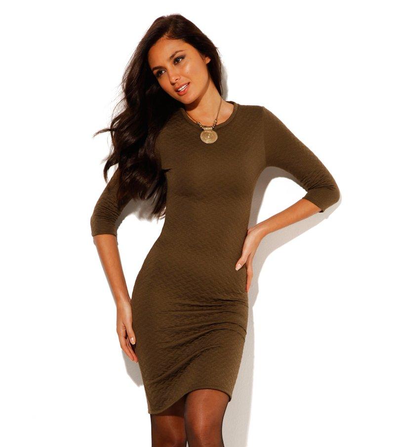 Vestido mujer manga 3/4 punto acolchado elástico