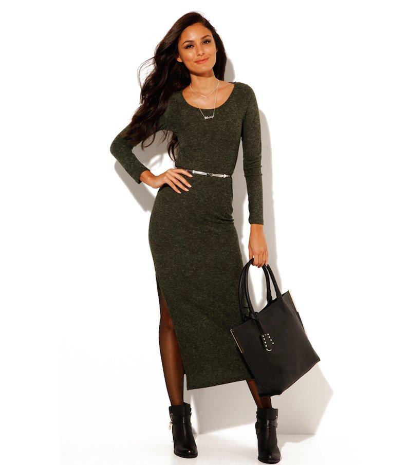 Vestido largo mujer manga larga punto de rizo