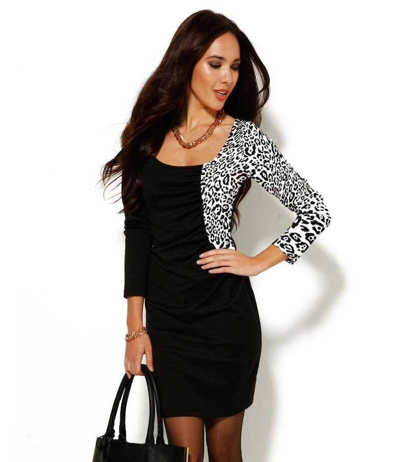 Vestido mujer punto manga larga animal print
