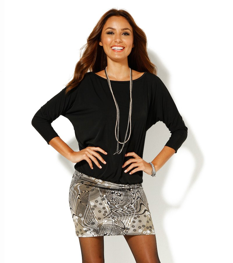 Vestido mujer manga 3/4 con falda estampada punto