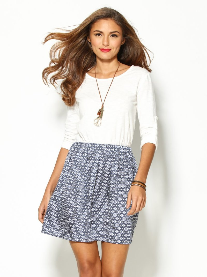 Vestido mujer manga larga regulable y falda satén