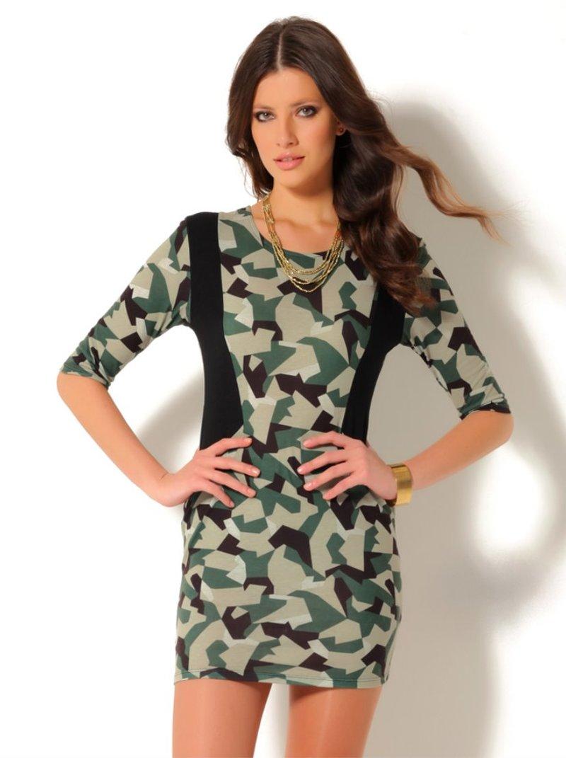 Vestido mujer manga 3/4 estampado estilo militar punto