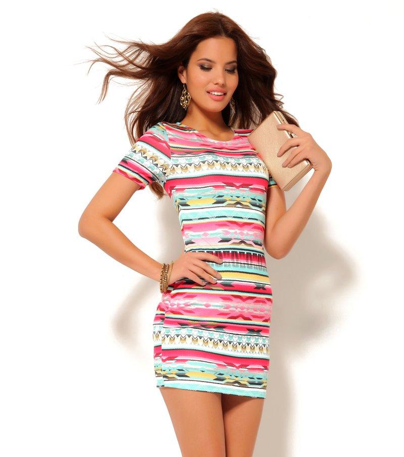 Vestido mujer manga corta punto étnico
