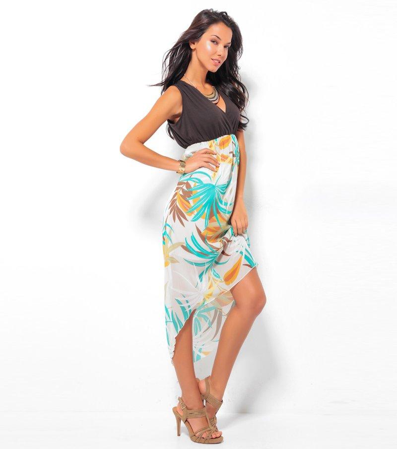 Vestido largo mujer sin mangas asimétrico