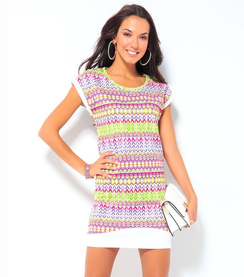 Vestido mujer manga corta estampado étnico