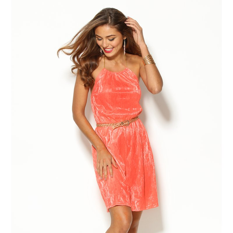 Vestido mujer sin mangas tejido fantasía coral