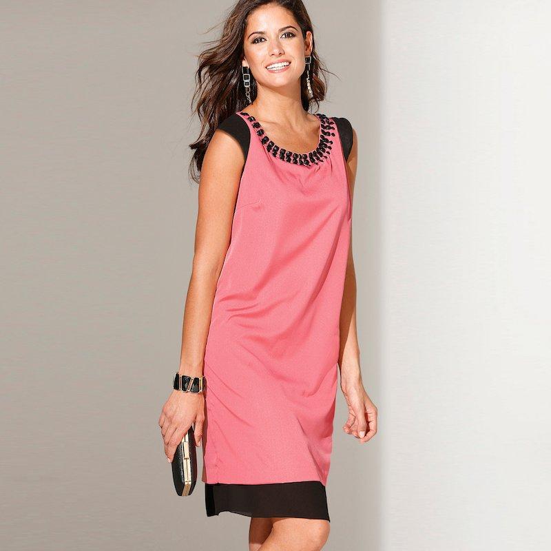 Vestido de fiesta mujer con pedrería efecto doble - Rosa