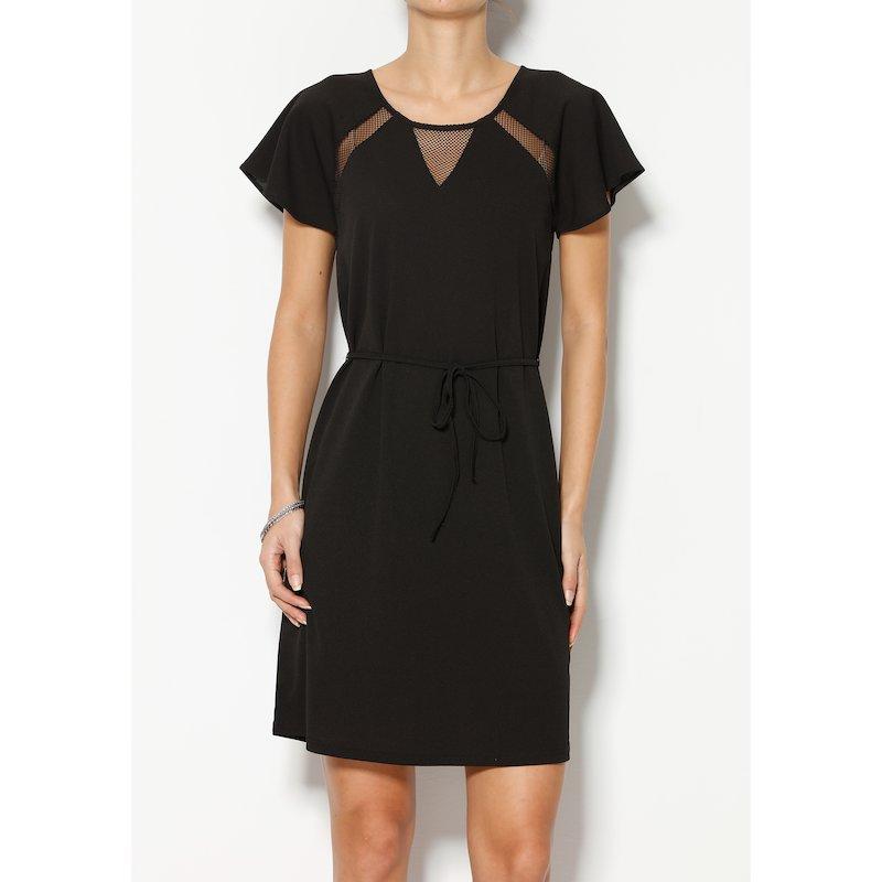 Vestido mujer manga corta con detalles calados mesh - Negro