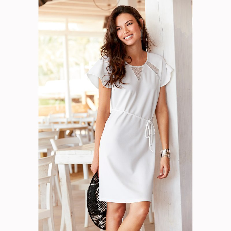 Vestido mujer manga corta con detalles calados mesh - Blanco