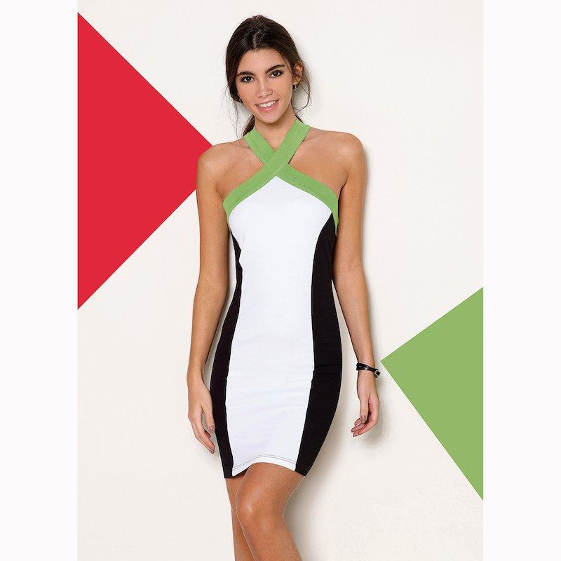 Vestido corto tricolor sin mangas de punto elástico