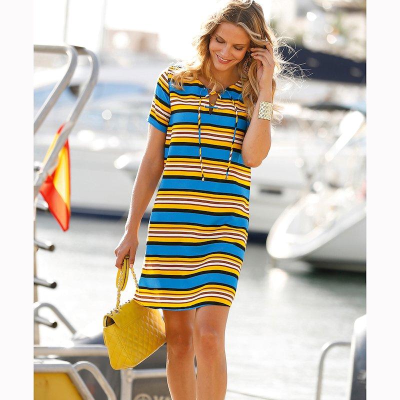 Vestido corto de manga corta rayas náuticas