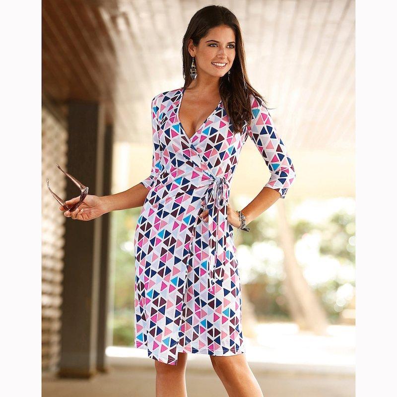 Vestido mujer estampado de punto manga 3/4 - Crudo