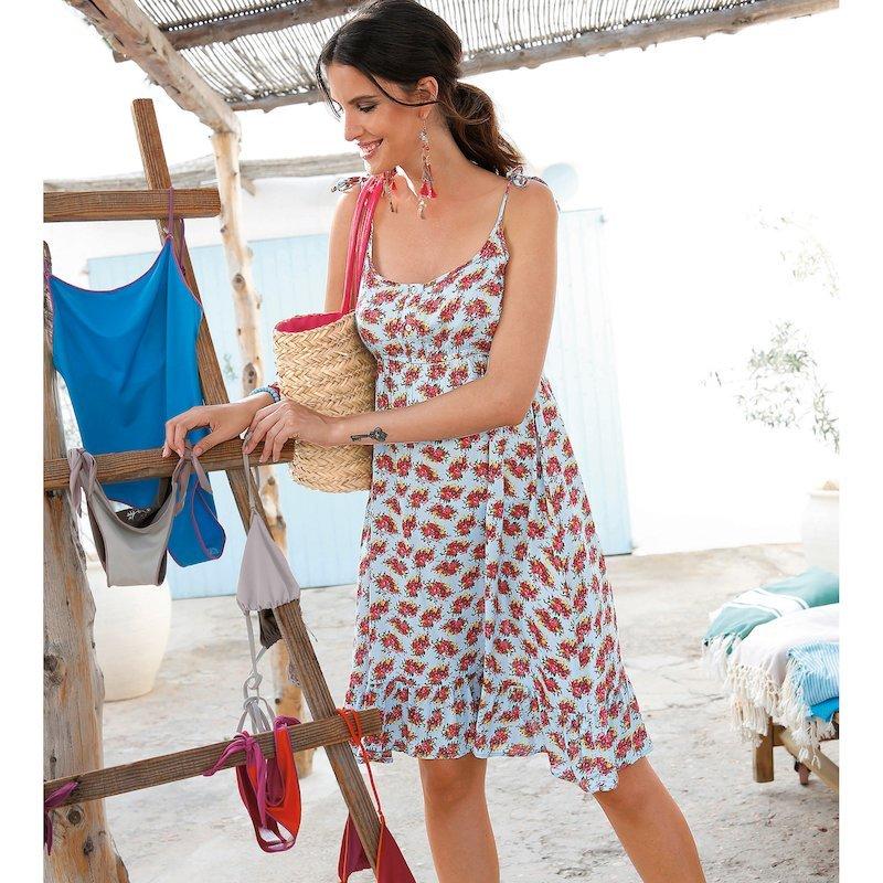 Vestido corto floreado mujer con tirantes anudados