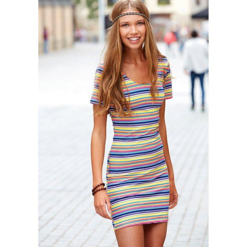 Vestido multicolor manga corta en punto elástico