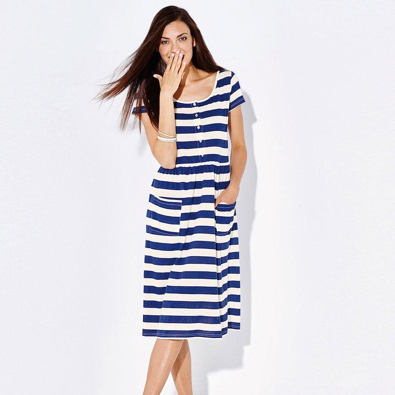 Vestido mujer manga corta rayas marineras de punto