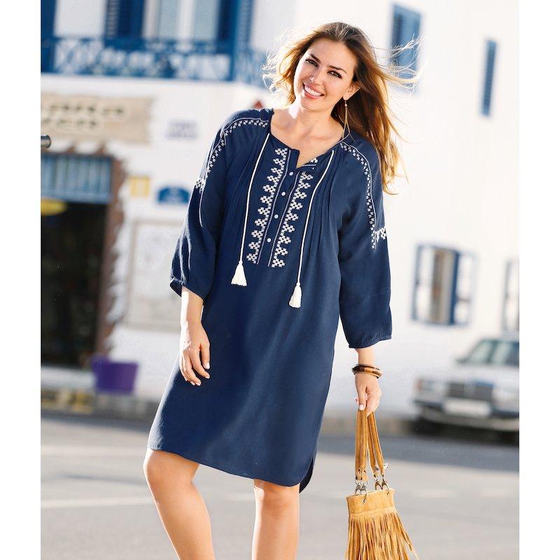 Vestido con bordado y jaretas de viscosa - Azul