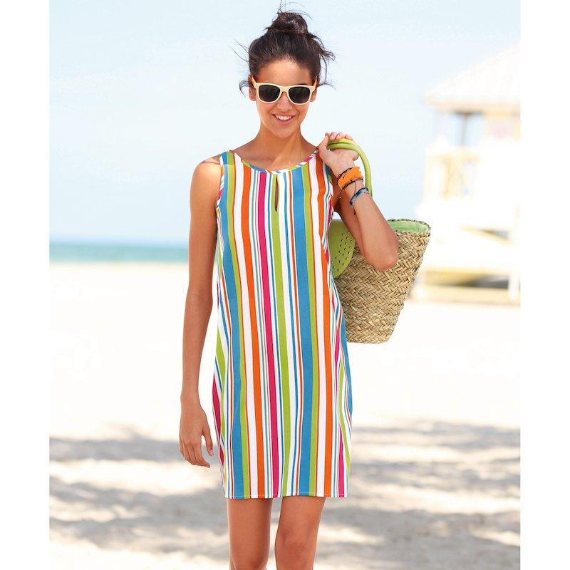 Vestido mujer sin mangas con rayas verticales