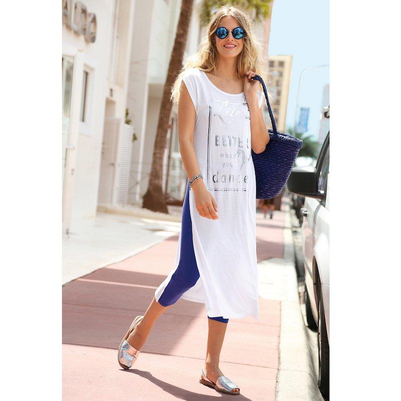 Vestido largo estampado metalizado con aberturas - Blanco