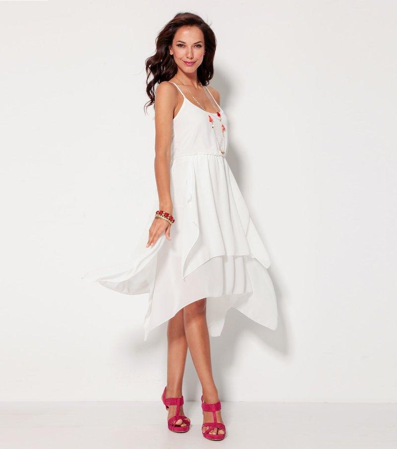 Vestido mujer de tirantes asimétrico blanco