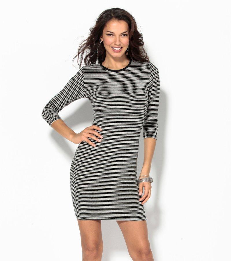 Vestido corto mujer manga 3/4 rayas elástico