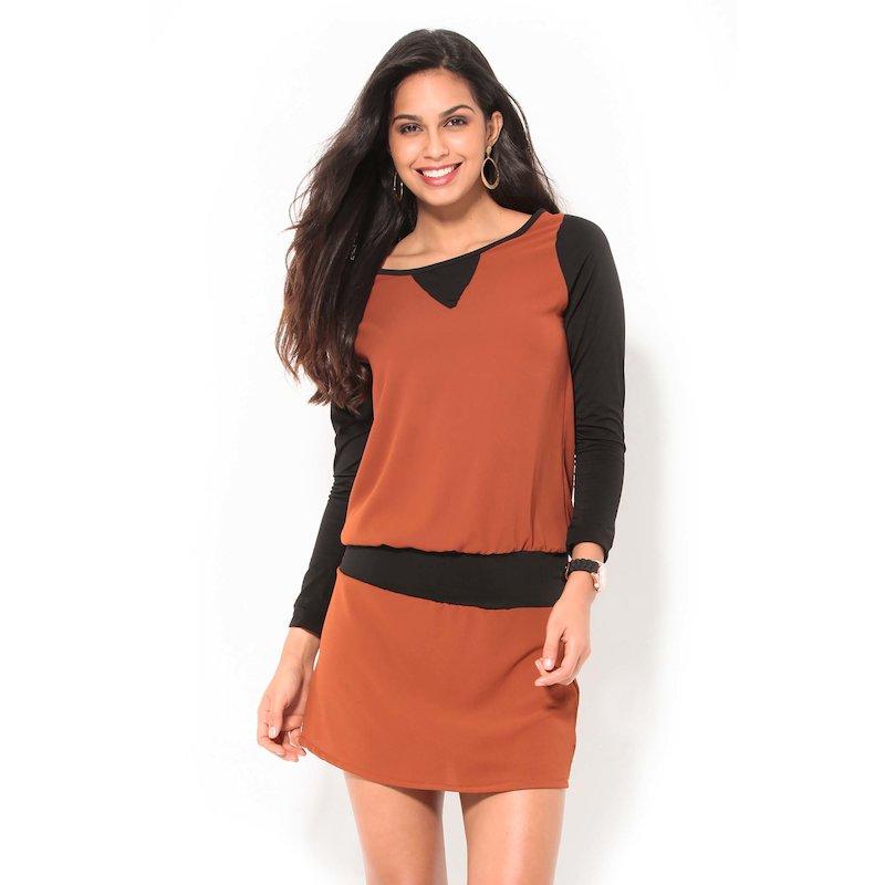 Vestido manga larga punto y tejido bicolor teja
