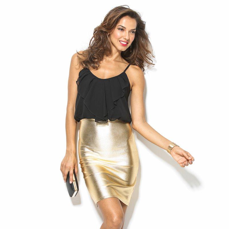 Vestido de fiesta tirantes con falda dorada