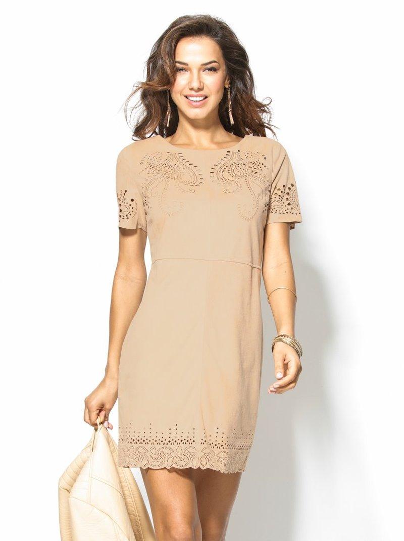 Vestido mujer manga corta de antelina troquelada