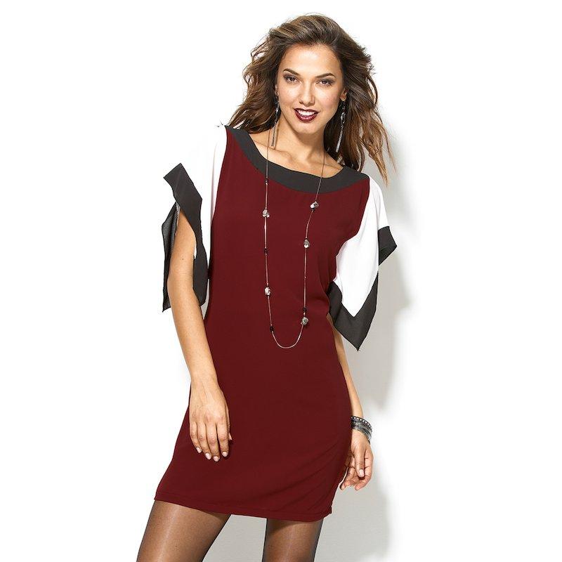 Vestido mujer manga corta tricolor