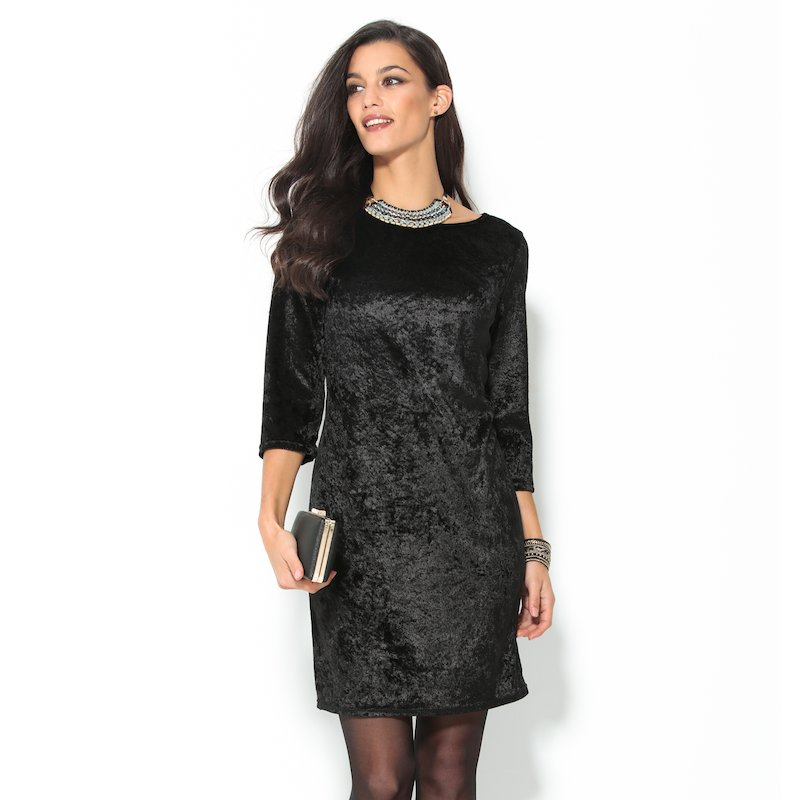 Vestido de fiesta manga 3/4 terciopelo negro - Negro