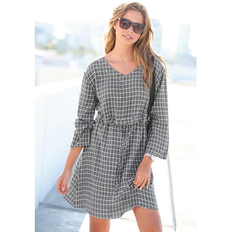 Vestido túnica de cuadros con manga 3/4 - Gris