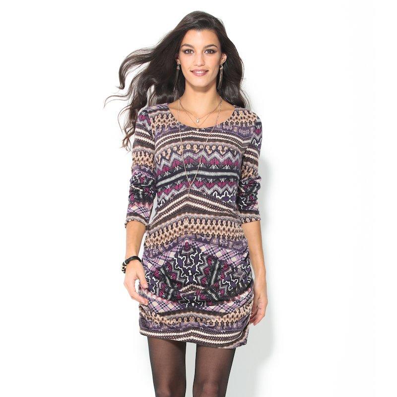 Vestido fino punto tricot estampado multicolor - Marrón