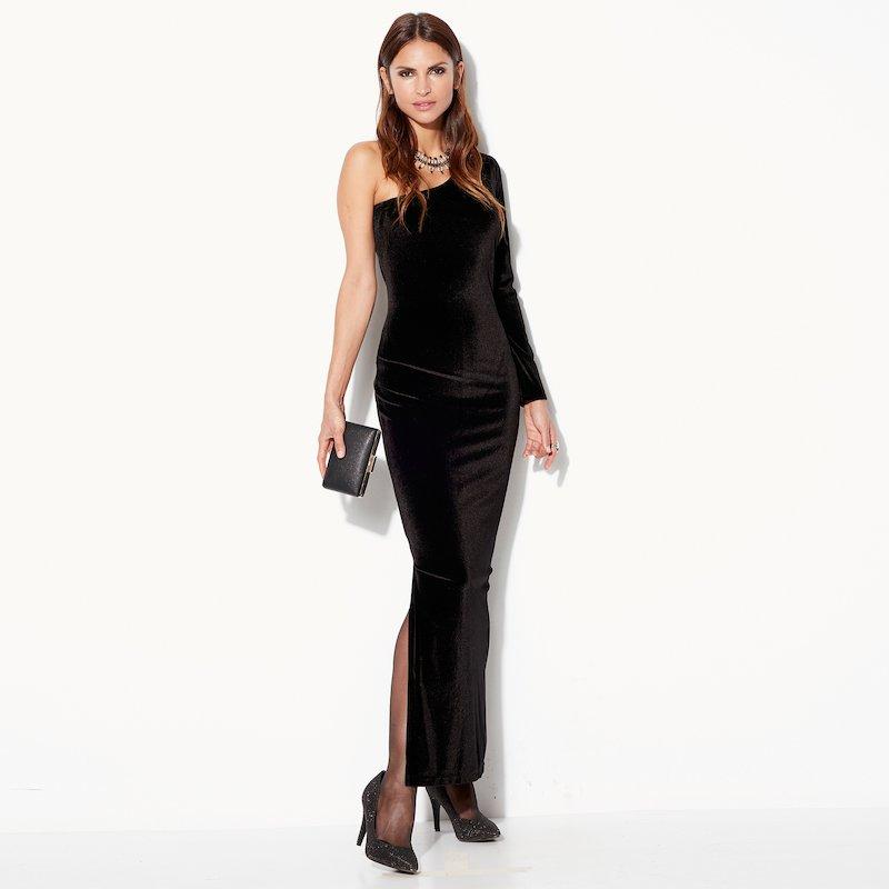 Vestido largo de fiesta en punto de terciopelo - Negro