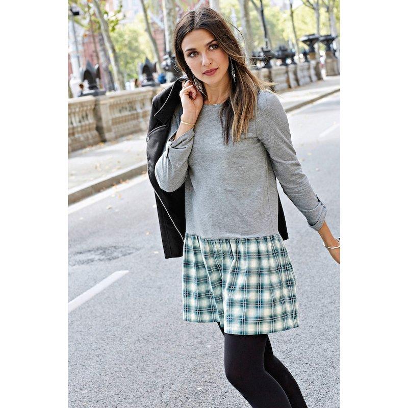 Vestido de felpa mujer con manga larga regulable