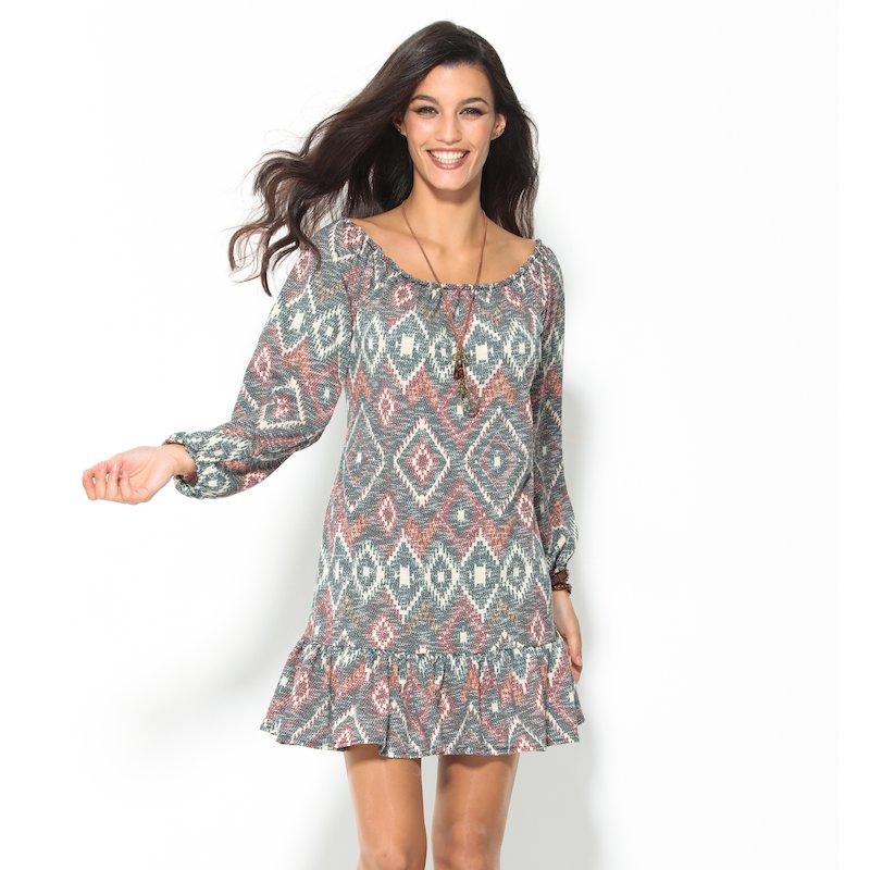 Vestido manga larga estampado étnico hippie tricot