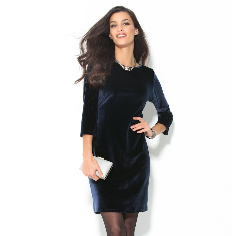 Vestido de fiesta manga 3/4 terciopelo azul