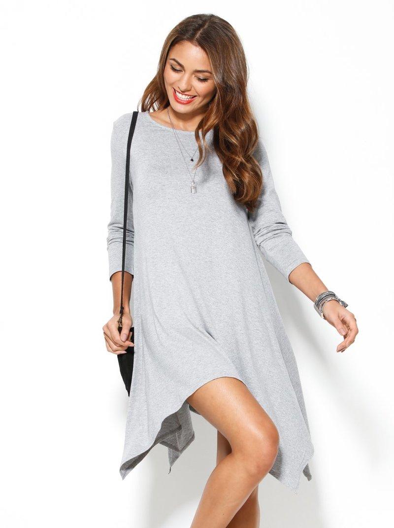 Vestido de punto mujer corte trapecio gris