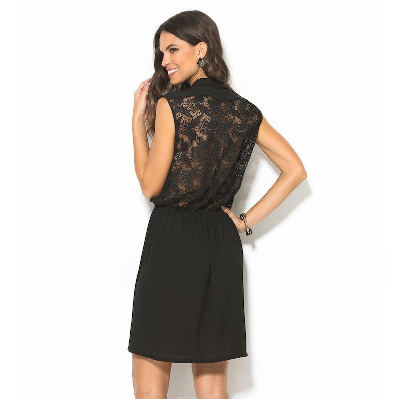 Vestido negro de fiesta con espalda de blonda