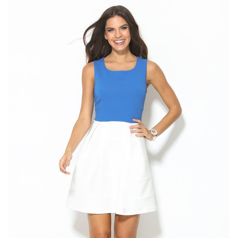 Vestido sin mangas de vestir punto azul y blanco