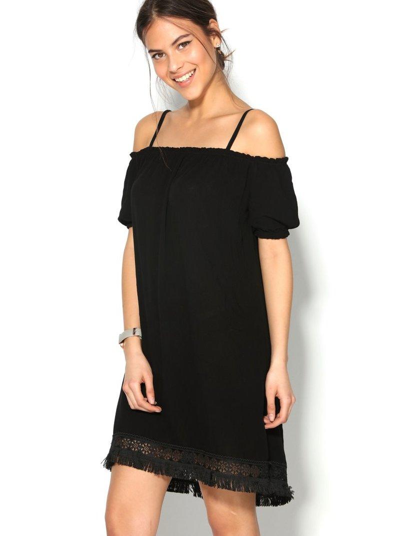 Vestido mujer escote elástico con tirantes