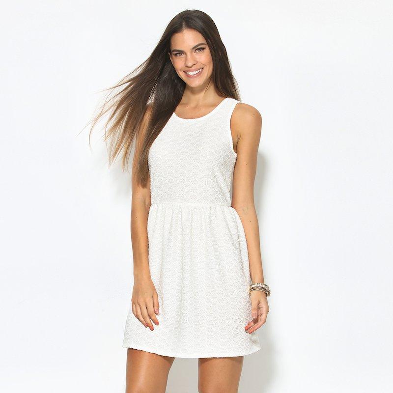 Vestido blanco de encaje elástico sin mangas - Blanco