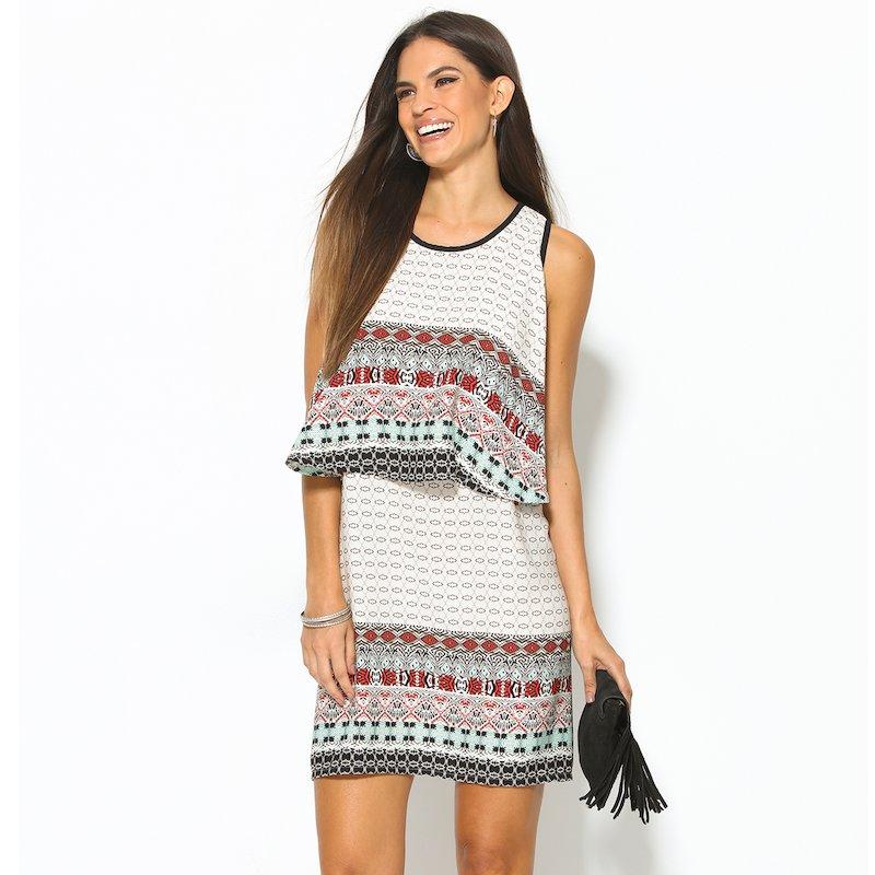Vestido mujer sin mangas efecto 2 piezas - Blanco
