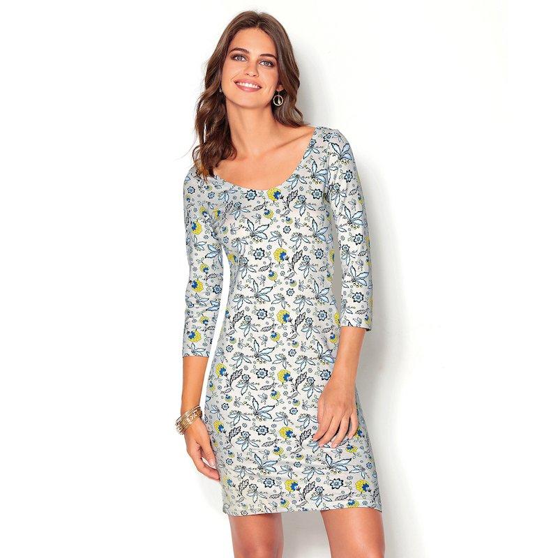 Vestido floral y amplio escote redondeado - Azul