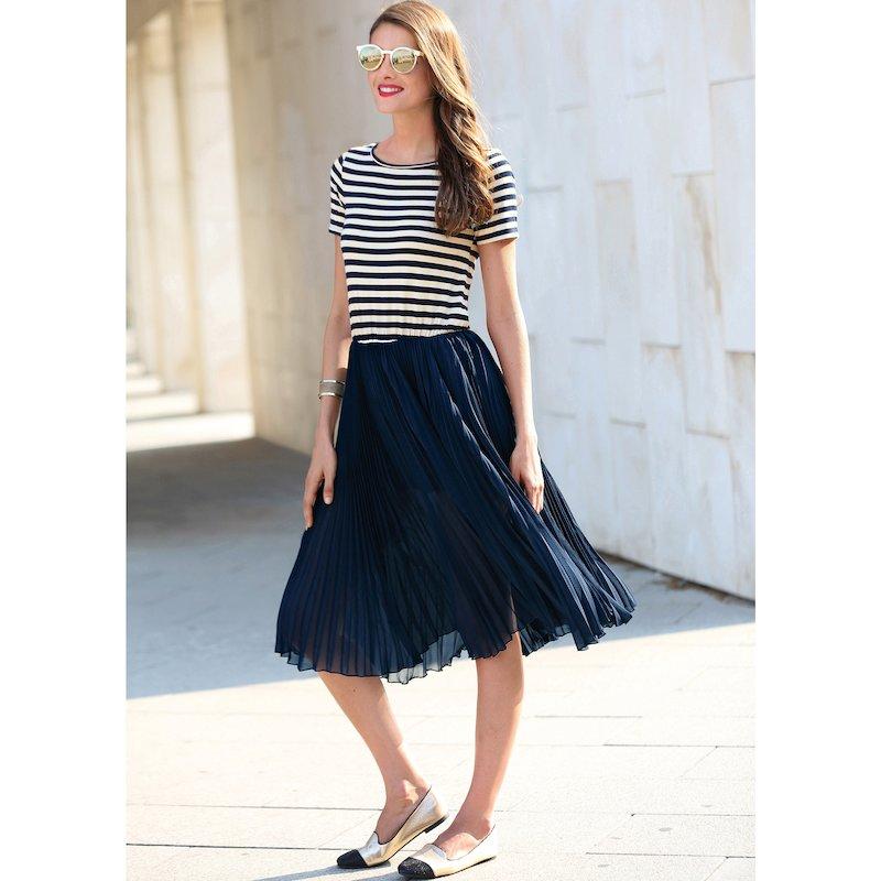 Vestido mujer efecto 2 piezas con falda plisada